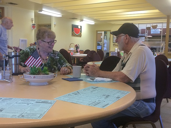 Barbara Wright and Bill Kountanis at the Chino Valley Senior Center Thursday, Aug. 15. Wright says she has some skepticism regarding trusting others and Kountanis said he has some trust in others. (Jason Wheeler/Courier)