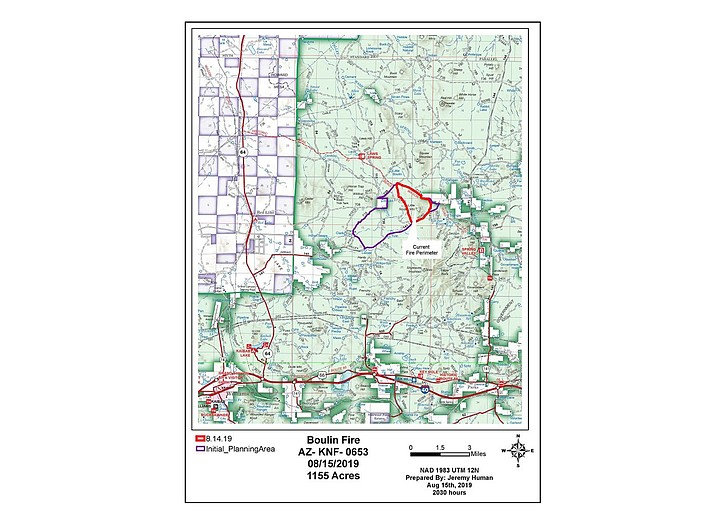 The lightning ignited Boulin Fire is being managed for resource benefits by the US Forest Service. (USFS/map)