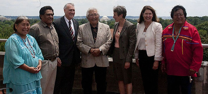 Flags at state buildings were lowered on Thursday for longtime White Mountain Apache Chairman Ronnie Lupe, center, who died this week. (White Mountain Apache Tribe photo)
