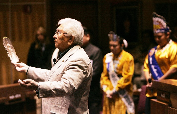 White Mountain Apache Tribal Chairman Ronnie Lupe leads an opening prayer during Indian Nations and Tribes Legislation Day at the Arizona Senate chamber Jan. 16, 2007, in Phoenix. (AP Photo/Ross D. Franklin)