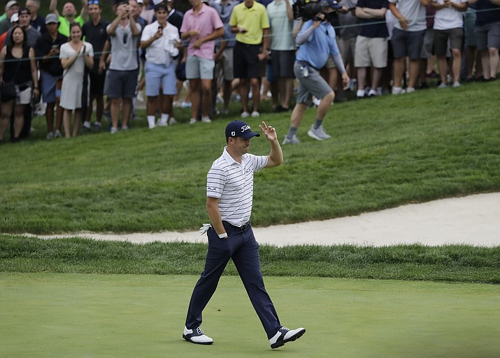 Justin Thomas celebrates an eagle on the 16th hole during the third round of the BMW Championship at Medinah Country Club, Saturday, Aug. 17, 2019, in Medinah, Ill. (Nam Y. Huh/AP)
