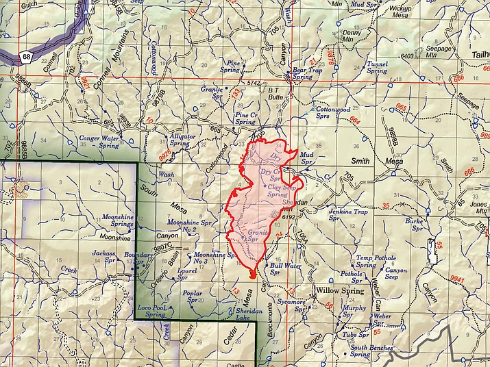 A map showing the perimeter of the Sheridan Fire, which is burning 23 miles northwest of Prescott. (PNF/Courtesy)