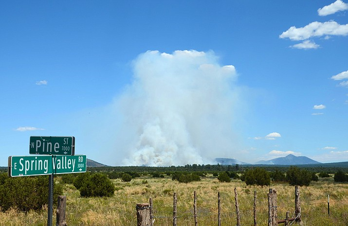 The Boulin Fire continues to be highly visible from the surrounding rural communities with heavy smoke impacts reported. (KNF/photo)