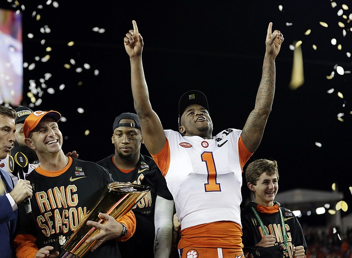 In this Jan. 7, 2019, photo, Clemson's Trayvon Mullen celebrates after the NCAA college football playoff championship game against Alabama, in Santa Clara, Calif. For the first time, the defending national champion Tigers are No. 1 in The Associated Press preseason Top 25 presented by Regions Bank, Monday, Aug. 19, 2019. (David J. Phillip/AP, File)