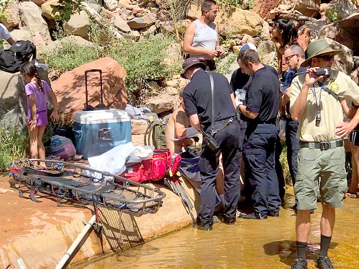 A man had his extremities crushed by a boulder accidentally loosened while he was hiking near Slide Rock State Park on Saturday. He was treated by Sedona Fire District personnel. His condition was unknown as of this writing. Courtesy of Sedona Fire