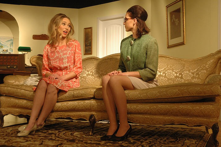 """Pamela Marsh (Danielle Peterson) and Lizzie Parsons (Lizzy Tupper) share a conversation in Chino Valley High School's production of """"Aunt Tilly Goes to Town."""" (Jason Wheeler/Review)"""
