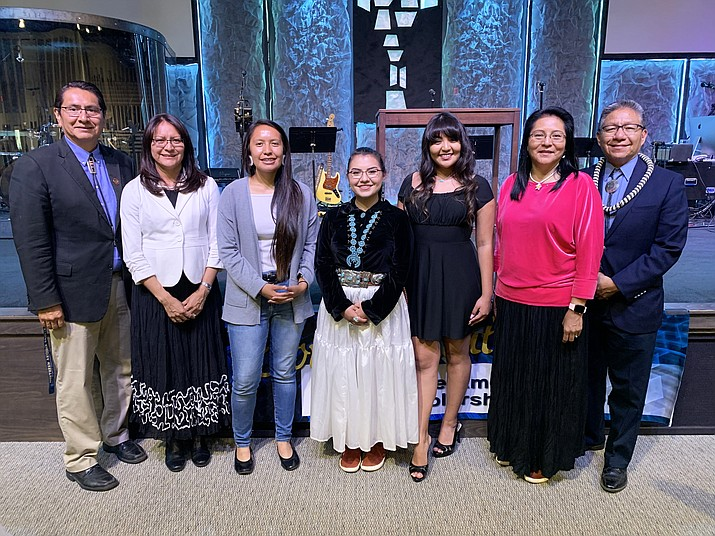 Recipients of the 2019 Souder, Miller & Associates STEM scholarship are congratulated by Navajo Nation President Jonathan Nez and Vice President Myron Lizer. (Photo/OPVP)