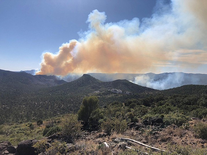 Smoke billowing up from the Sheridan Fire on Sunday, Aug. 18. (Prescott National Forest/Courtesy)