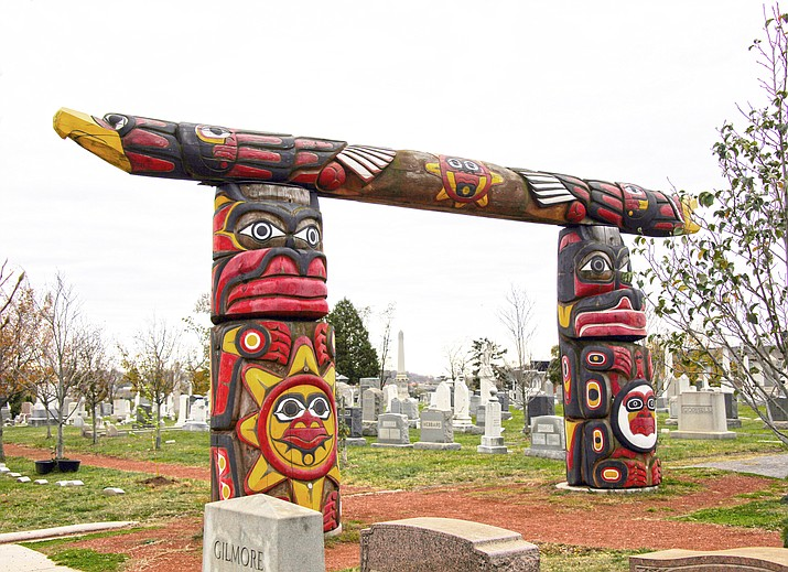 Congressional Cemetery might not be the first place to look for Native American sites in Washington, but it's the final home for three Lummi totem poles carved to honor the victims and heal the nation in the wake of the 9/11 attacks. (Photo by Tim Evanson/Creative Commons)