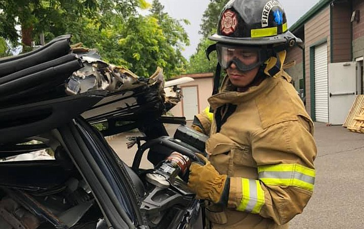 Tusayan Fire volunteer Travis Moreno is one of many new volunteers to join the department. The department recently broke its record for number of volunteers. (Photo/Tusayan Fire Department)