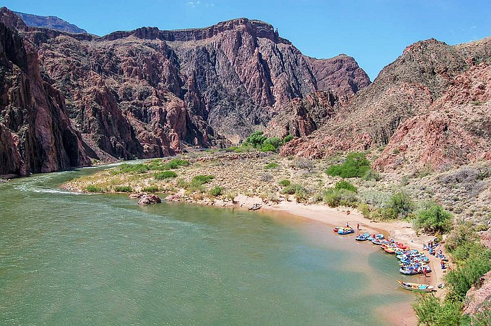 On Aug. 16, 1869, the Powell Expedition reached Bright Angel Creek. The expedition spent the day resting and repairing gear. Today, Bright Angel Campground and Phantom Ranch are located at the same spot (Colorado River mile 88). Above: boats are beached along the Colorado River at the Phantom Ranch Boat Beach located above the confluence with Bright Angel Creek. (Photo/NPS)