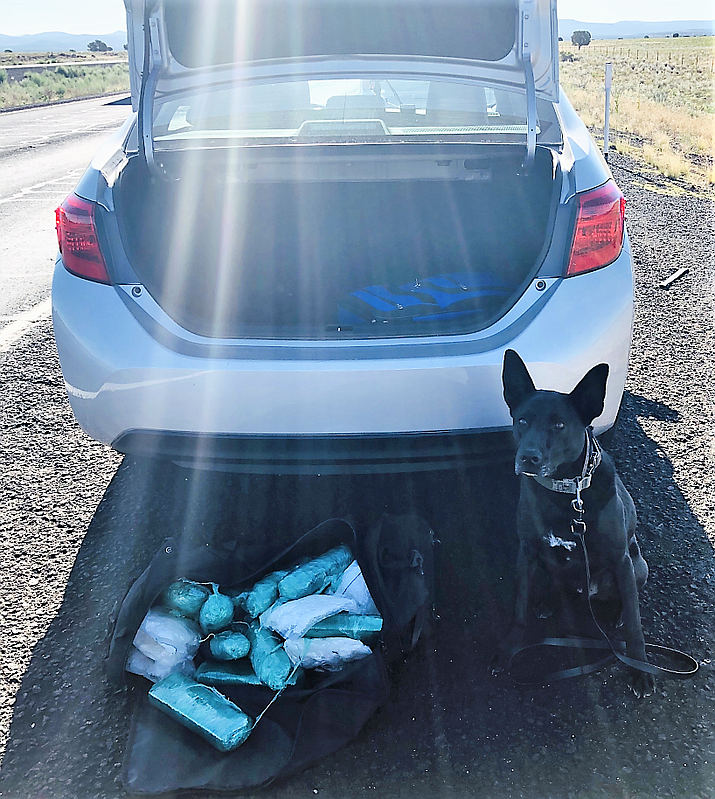 K9 Vader standing helped locate a load of drugs during a traffic stop on Interstate 40 in Ash Fork Sunday, Aug. 18, 2019. (Yavapai County Sheriff's Office/Courtesy)