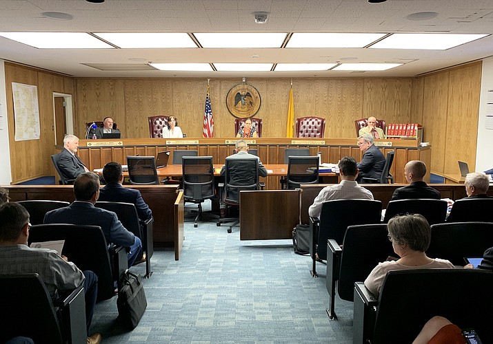 Navajo Nation President Jonathan Nez and Vice President Myron Lizer appear before the New Mexico Public Regulation Commission Aug. 13 to support Navajo mine workers. (Photo/OPVP)
