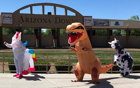Arizona Downs will host an Inflatable Costume Race for Charity during a break in regular horse racing Saturday, Aug. 24 in Prescott Valley. (Courtesy)