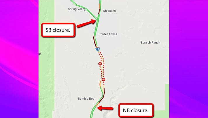 Interstate 17 is closed due to a brush fire - southbound at Highway 69, and northbound at Sunset Point. (ADOT/Courtesy)