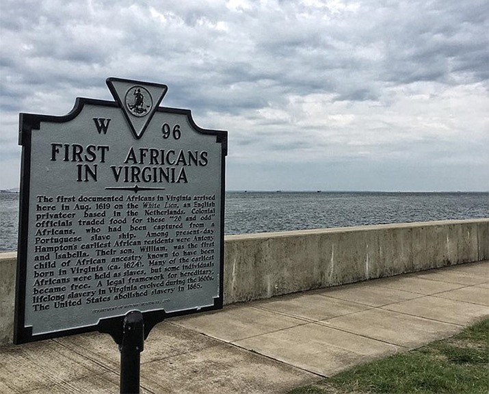 A state marker notes the first Africans in Virginia just outside Fort Monroe National Monument. (Photo/NPS)
