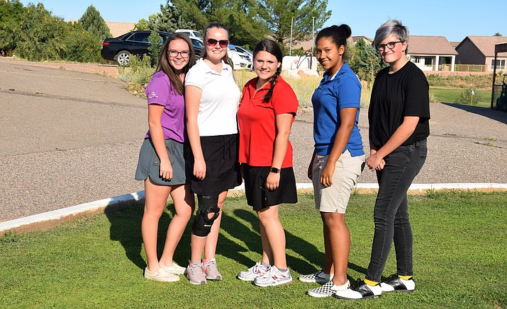 Mingus girls golf from left: Kaila Bowers, Suzie Tanner, Haley Rosenberg, Madison Mathis and Anna Pinion-Thompson. VVN/James Kelley