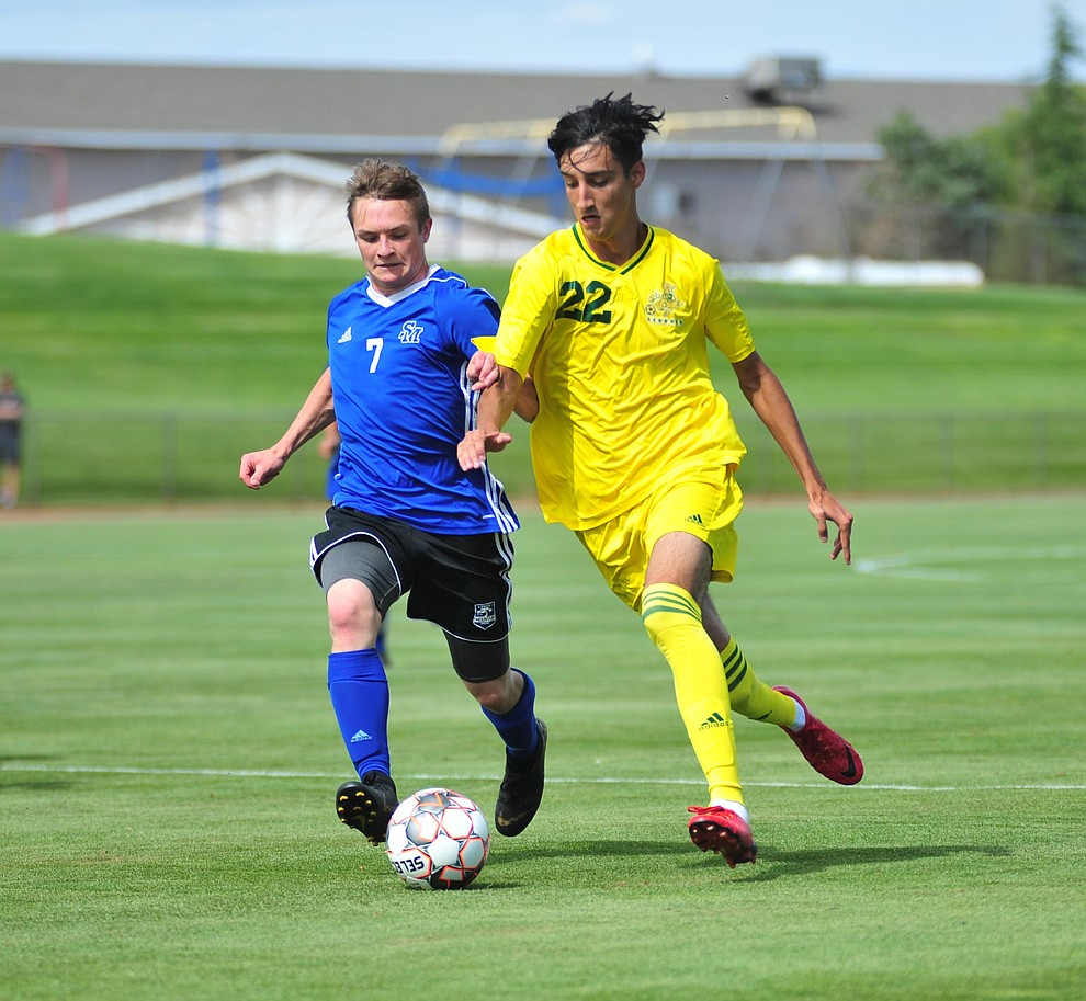 Yavapai's Manuel Quiroz drives the ball forward enroute to the first goal as the Roughriders host South Mountain Community College Thursday, August 22, 2019, in Prescott Valley. (Les Stukenberg/Courier)