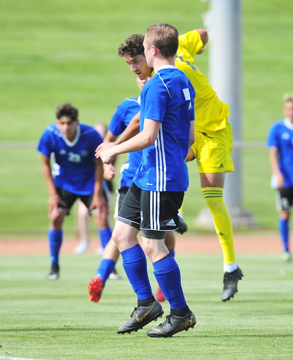 Yavapai's Tucker Fenton scores the second goal as the Roughriders host South Mountain Community College Thursday, August 22, 2019, in Prescott Valley. (Les Stukenberg/Courier)