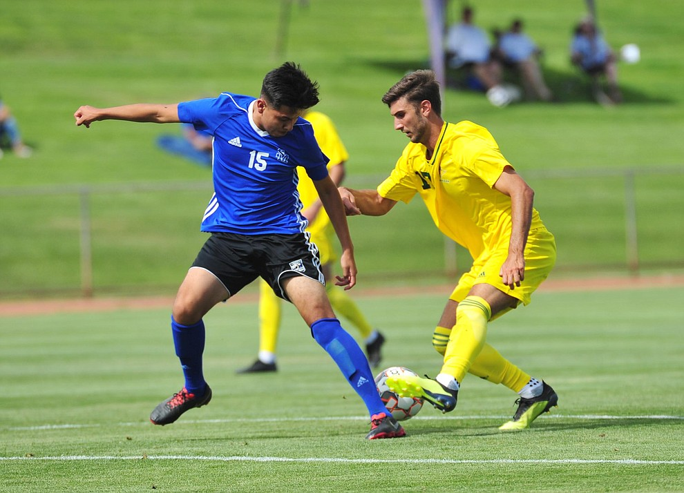 Yavapai's Paul Fulop maneuvers the ball in the box as the Roughriders host South Mountain Community College Thursday, August 22, 2019, in Prescott Valley. (Les Stukenberg/Courier)