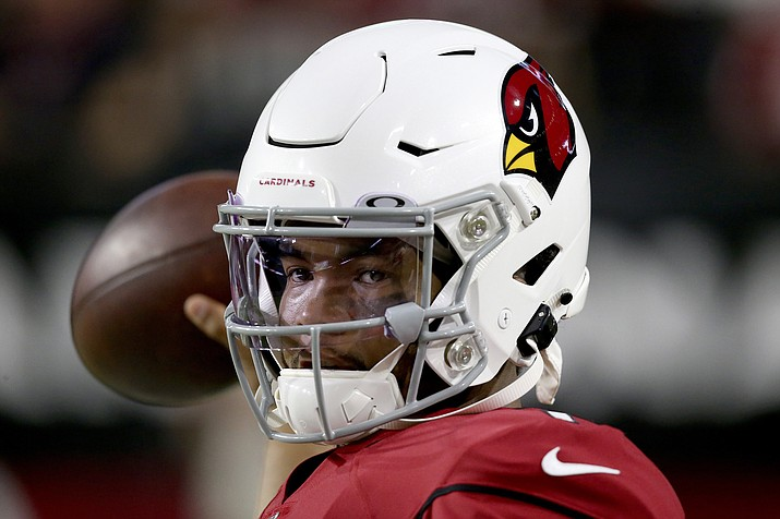 Arizona Cardinals quarterback Kyler Murray (1) warms up prior to a preseason game against the Los Angeles Chargers, Thursday, Aug. 8, 2019, in Glendale, Ariz. (Ross D. Franklin/AP)