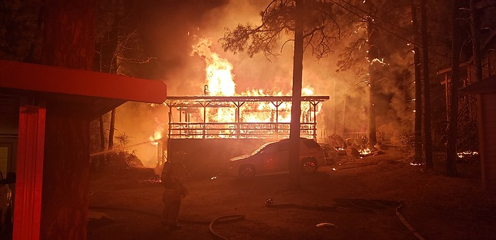 A roughly 1,000-square-foot home in Camp Pinerock on Prescott's southern border was destroyed by fire Friday, Aug. 23, 2019. (Prescott Fire Department/Courtesy)