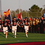 Bradshaw Mountain players take the field as the Bears host Estrella Foothills in their 2019 football home opener Friday, Aug. 23, 2019, in Prescott Valley. (Les Stukenberg/Courier)