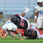 Bradshaw Mountain's Manny Salcido makes a tackle as the Bears host Estrella Foothills in their 2019 football home opener Friday, Aug. 23, 2019, in Prescott Valley. (Les Stukenberg/Courier)