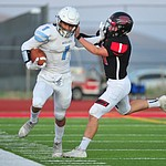 Bradshaw Mountain's Daniel Gobiel forces a runner out of bounds as the Bears host Estrella Foothills in their 2019 football home opener Friday, Aug. 23, 2019, in Prescott Valley. (Les Stukenberg/Courier)