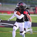 Bradshaw Mountain's Ismael Solano makes a long run after a catch as the Bears host Estrella Foothills in their 2019 football home opener Friday, Aug. 23, 2019, in Prescott Valley. (Les Stukenberg/Courier)