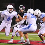 Bradshaw Mountain's Josh Grant tries to run through the defense as the Bears host Estrella Foothills in their 2019 football home opener Friday, Aug. 23, 2019, in Prescott Valley. (Les Stukenberg/Courier)