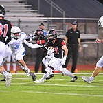 Bradshaw Mountain's Titus King tries to run through the defense as the Bears host Estrella Foothills in their 2019 football home opener Friday, Aug. 23, 2019, in Prescott Valley. (Les Stukenberg/Courier)