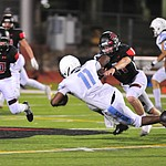Bradshaw Mountain's Alex Cabral makes a tackle as the Bears host Estrella Foothills in their 2019 football home opener Friday, Aug. 23, 2019, in Prescott Valley. (Les Stukenberg/Courier)