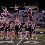Bradshaw Mountain cheerleaders perform at halftime as the Bears host Estrella Foothills in their 2019 football home opener Friday, Aug. 23, 2019, in Prescott Valley. (Les Stukenberg/Courier)