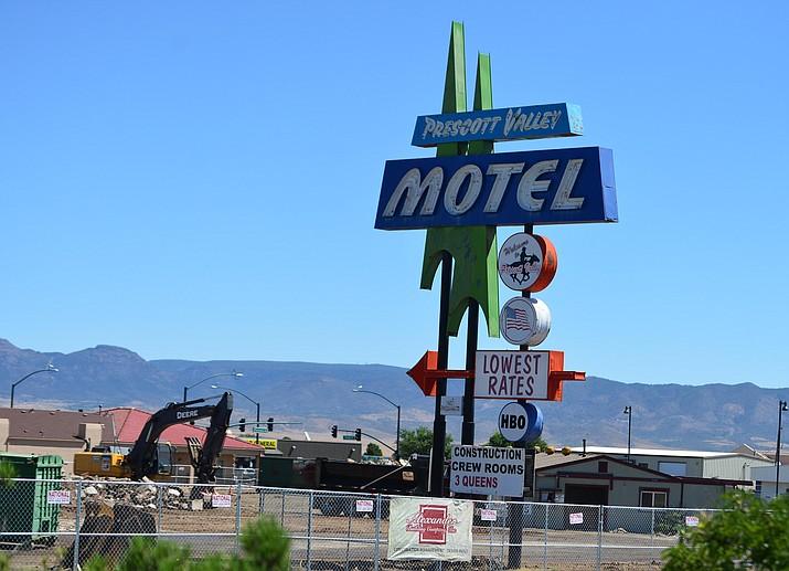 Demolition continues on the former Prescott Valley Motel along Highway 69 Wednesday, August 21, 2019, in Prescott Valley.  (Les Stukenberg/Courier)