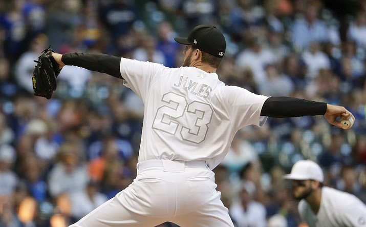 Milwaukee Brewers starting pitcher Jordan Lyles throws during the first inning of a baseball game against the Arizona Diamondbacks Friday, Aug. 23, 2019, in Milwaukee. (Morry Gash/AP)