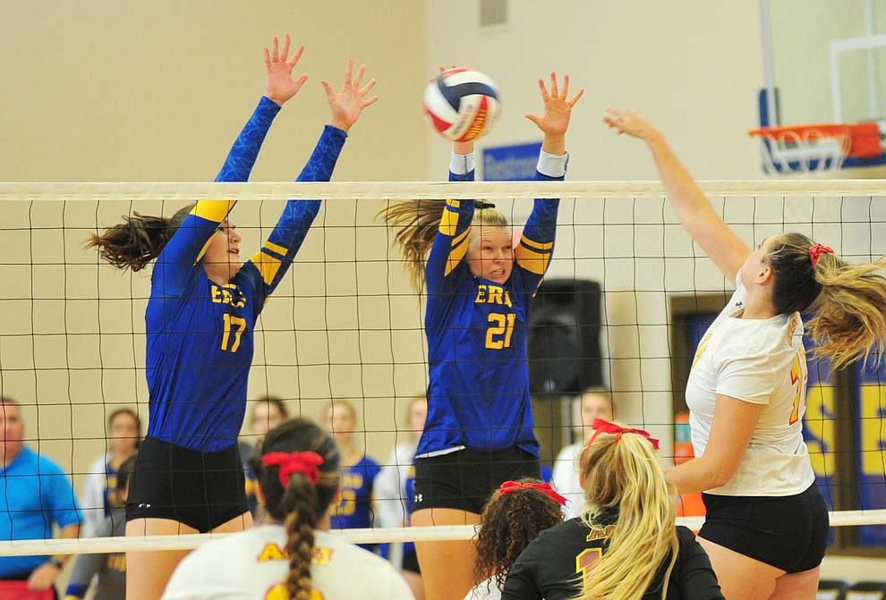 Embry Riddle's Julie Kjenstad and Erin Clark get a block as the Eagles take on Arizona Christian Saturday, Aug. 24, 2019, in Prescott.  (Les Stukenberg/Courier)