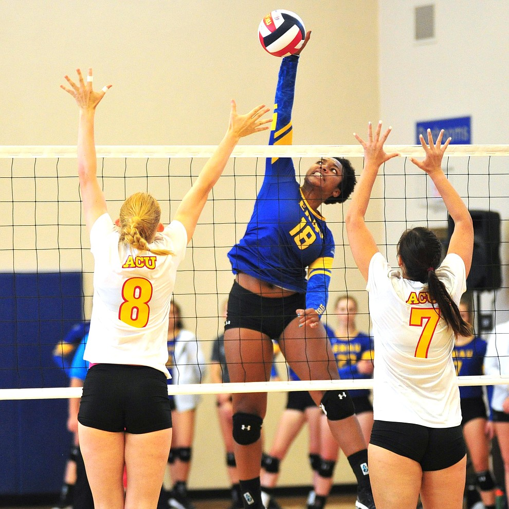 Embry Riddle's Sharik Joseph goes for a kill as the Eagles take on Arizona Christian Saturday, Aug. 24, 2019, in Prescott.  (Les Stukenberg/Courier)
