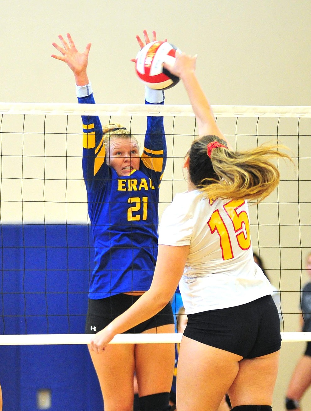 Embry Riddle's Erin Clark gets a block as the Eagles take on Arizona Christian Saturday, Aug. 24, 2019, in Prescott.  (Les Stukenberg/Courier)