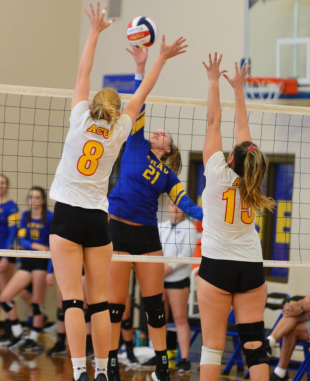 Embry Riddle's Erin Clark goes for a kill as the Eagles take on Arizona Christian Saturday, Aug. 24, 2019, in Prescott.  (Les Stukenberg/Courier)