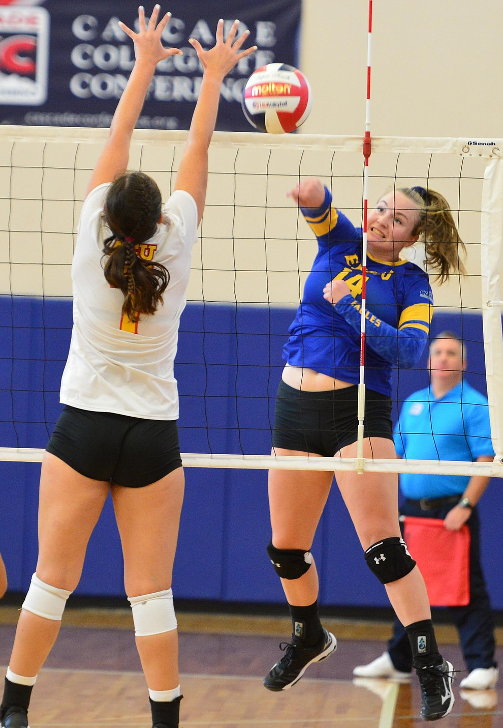 Embry Riddle's Caylee Robalin sends a kill down the line as the Eagles take on Arizona Christian Saturday, Aug. 24, 2019, in Prescott.  (Les Stukenberg/Courier)