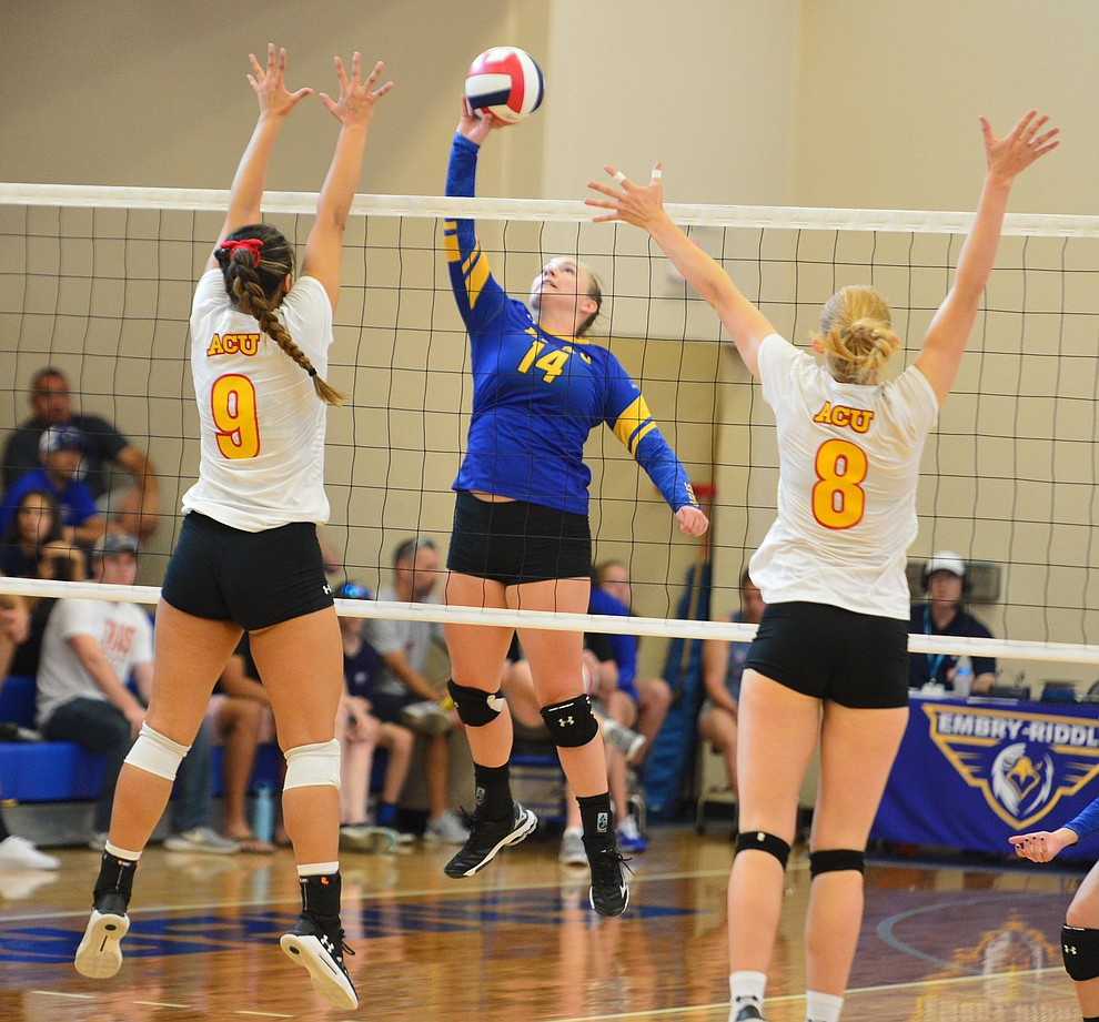 Embry Riddle's Caylee Robalin tries to split the defense as the Eagles take on Arizona Christian Saturday, Aug. 24, 2019, in Prescott.  (Les Stukenberg/Courier)
