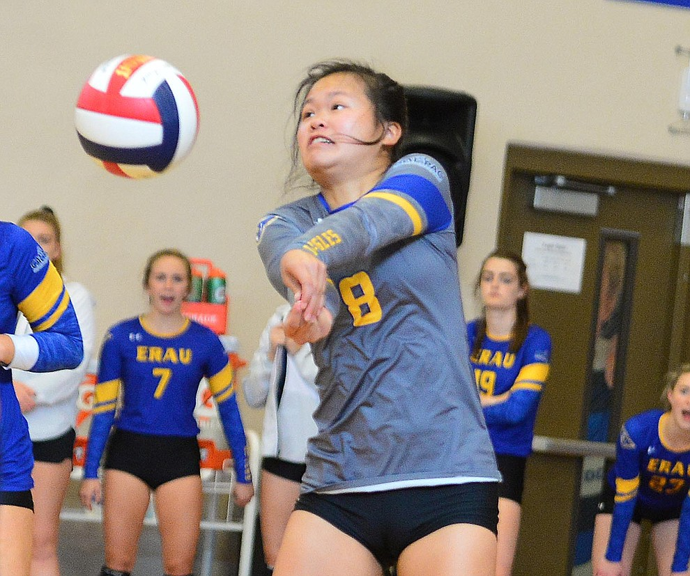 Embry Riddle's Kat Yung returns a serve as the Eagles take on Arizona Christian Saturday, Aug. 24, 2019, in Prescott.  (Les Stukenberg/Courier)