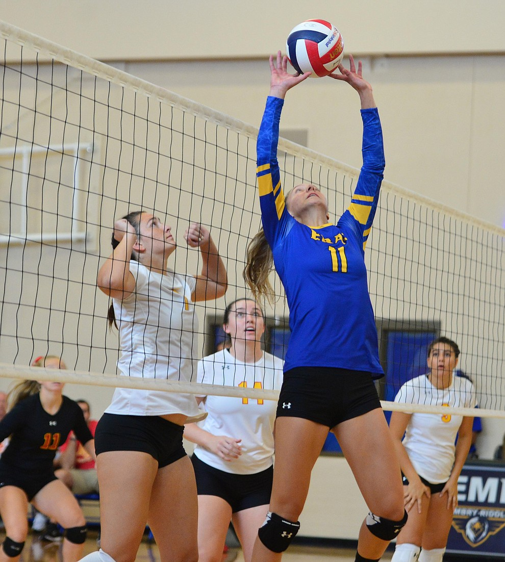 Embry Riddle's Audrey Baldwin sets the ball as the Eagles take on Arizona Christian Saturday, Aug. 24, 2019, in Prescott.  (Les Stukenberg/Courier)