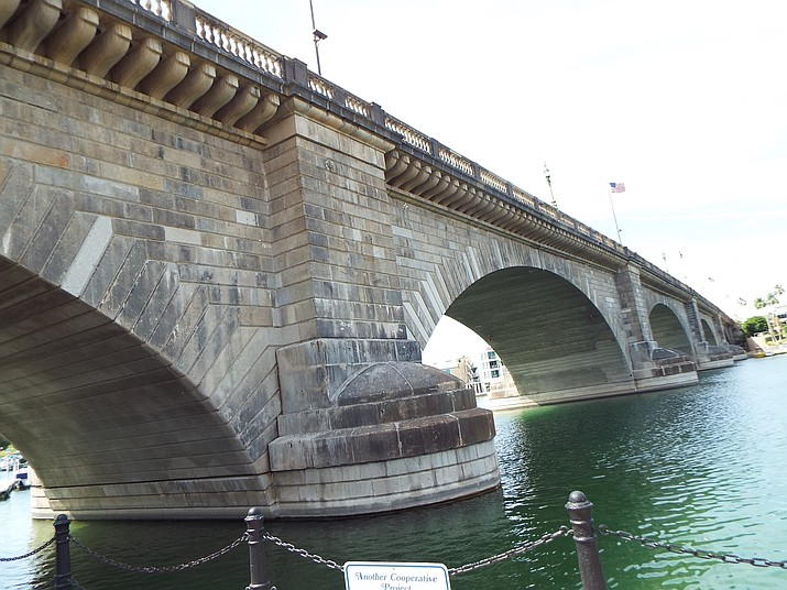 The London Bridge will remain the only bridge over the Bridewater Channel in Lake Havasu City, at least for now. The city and Arizona State Parks and Trails  are working on a memorandum of understanding for a potential second bridge at some point in the future. (Photo by Marine 69-71 [CC BY-SA 4.0 (https://creativecommons.org/licenses/by-sa/4.0)], from Wikimedia Commons)