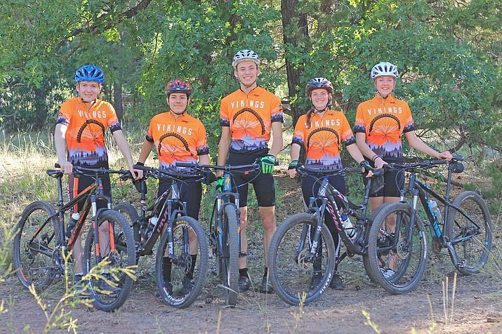 Hunter Wise, Robert Hudspeth, Tony Cavaletto, Samantha Russell and Mia Schmitz make up the 2019 Williams High School mountain bike team. (Wendy Howell/WGCN)