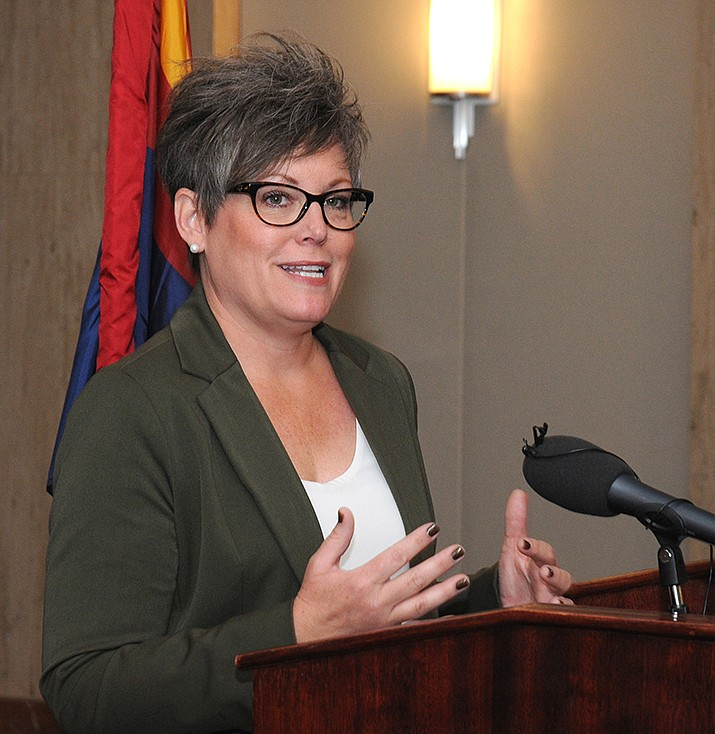 Arizona Secretary of State Katie Hobbs, shown prior to taking office on Nov. 19, 2018, is defending a state law that she says is designed to protect the integrity of the state's initiative process.  (Photo by Howard Fischer/Capitol Media Services)