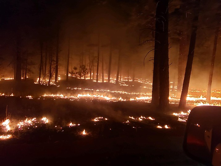 This photo shows firefighters taking advantage of cooler nighttime conditions to introduce fire into the ponderosa pines in the anticipated path of the Sheridan Fire. By doing this, it helps to reduce the potential for extreme heat and high intensity fire of the advancing fire front during the heat of the day. The Sheridan Fire is burning 23 miles northwest of Prescott and has charred an estimated 11,154 acres. Courtesy PNF Facebook Page