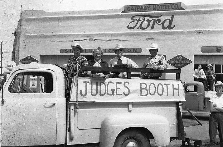 Myrtle Smart, Aileen Klass, Fred Udine and Norman Campbell ride in the 1950s Williams Labor Day Parade. (Photo/Williams Historic Photo Project, Brad Massey family collection)