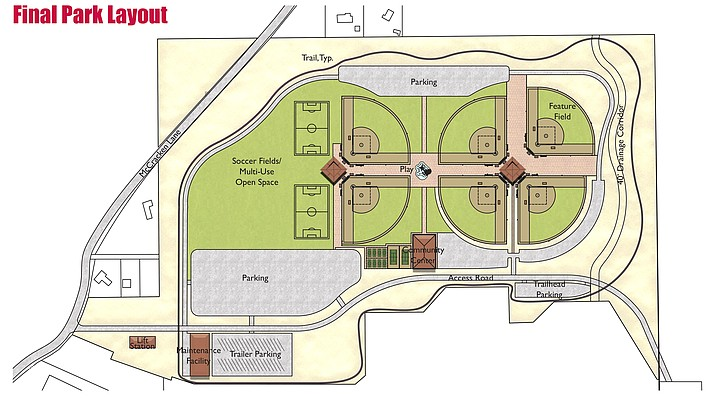 The Camp Verde Sports Complex – when complete – will have two football/soccer fields, six baseball/softball fields, a multi-use field, eight pickleball courts, two tennis courts, two restrooms, two concession stands, playgrounds, a perimeter trail, landscaping, an access road, maintenance facility and multiple parking lots.